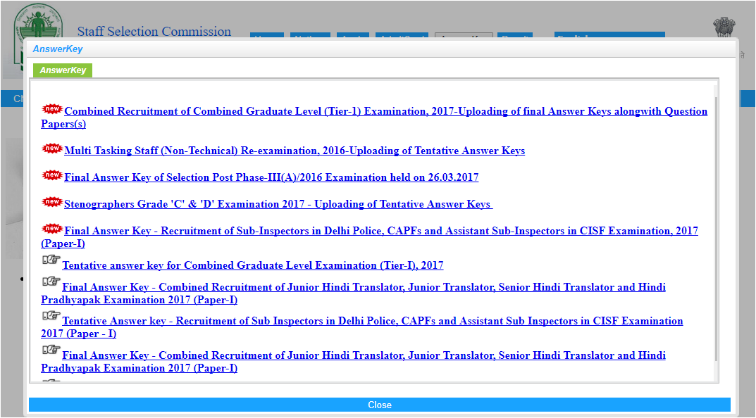 ssc cgl Answer key released