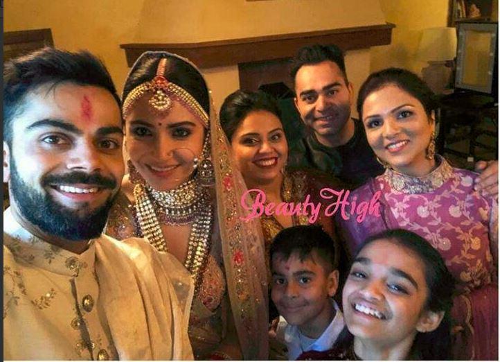 Virat Kohli and Anushka Sharma with close relatives