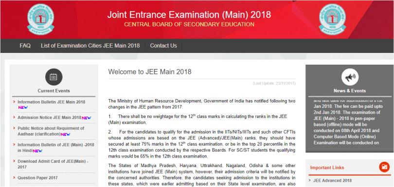 JEE Mains 2018: Application process begins; Board allowed diabetic students to carry fruits