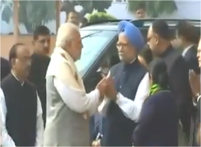 PM Modi and Manmohan Singh meeting