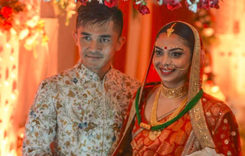 Indian Football Team Captain Sunil Chhetri Weds his Long-time Girlfriend Sonam Bhattacharya