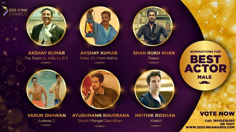 Zee cine award 2017: Vote your favorite star to make them shine