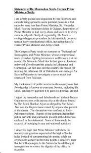written statement of manmohan singh