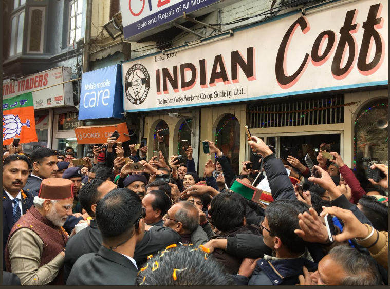 PM Modi stops at Shimla's Indian Coffee House pose for selfies with common people