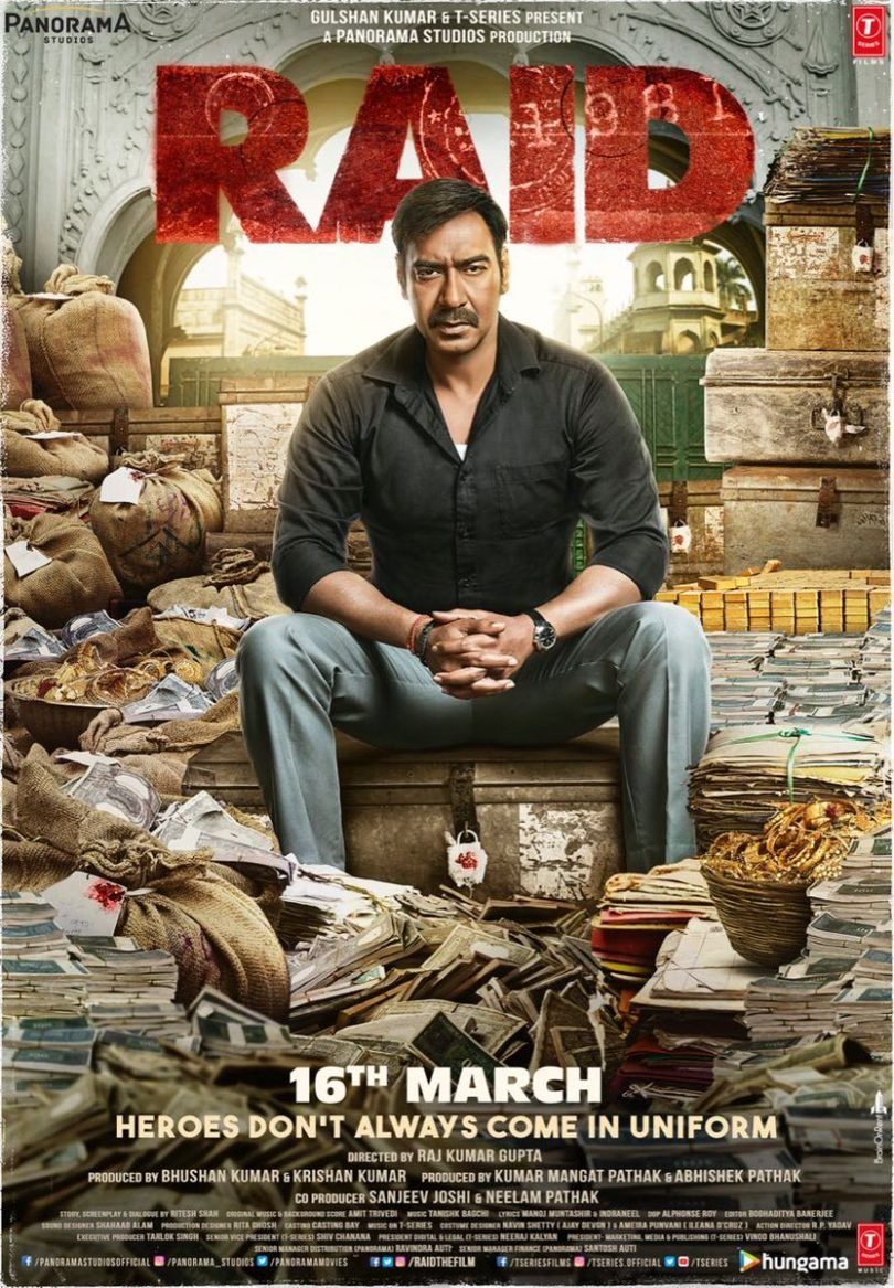 Ajay Devgn's Raid movie poster, set release on 16 March 2018