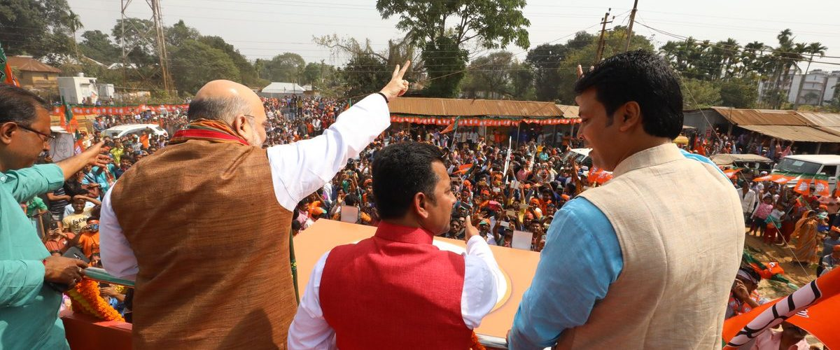 Amit Shah's road show in Tripura, says BJP isn't afraid of violence