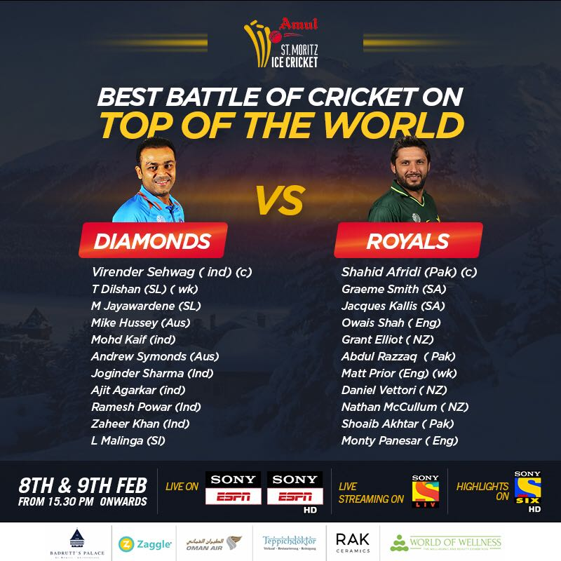 St Moritz Ice Cricket Tournament 2018, live streaming, full squads and updates
