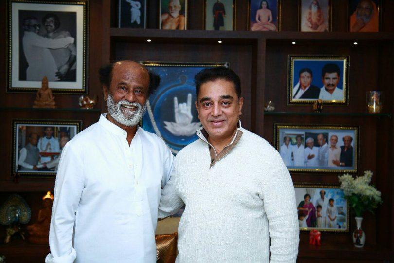 Kamal Haasan goes to meet Rajinikanth at his residence