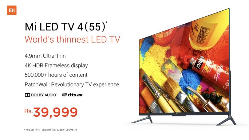 Xiaomi launches Mi TV 4 With 4K HDR Display: Price in India, Specifications