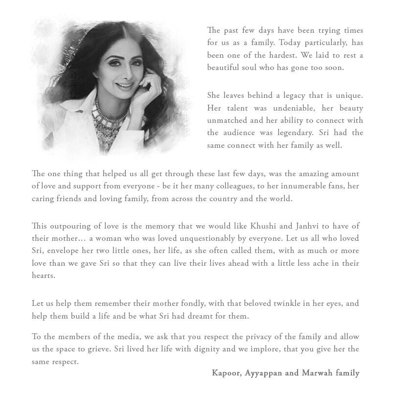 Shree devi death -Sonam Kapoor posted the message from family