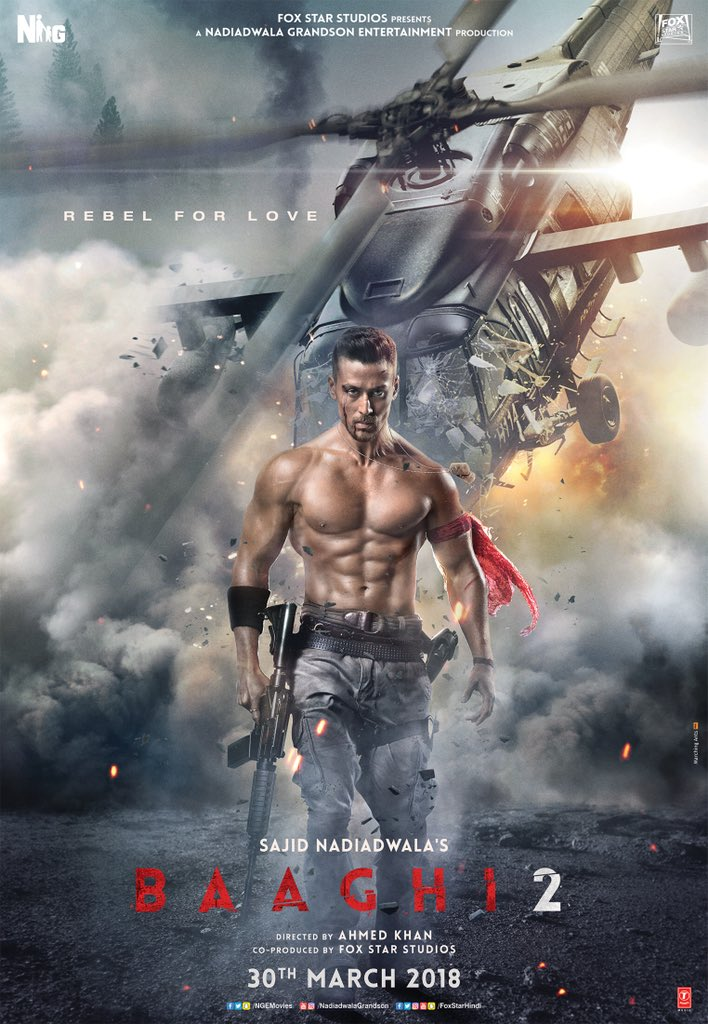 Tiger Shroff starrer 'Baaghi 2' first look shows a ripped Tiger and devastated helicopter