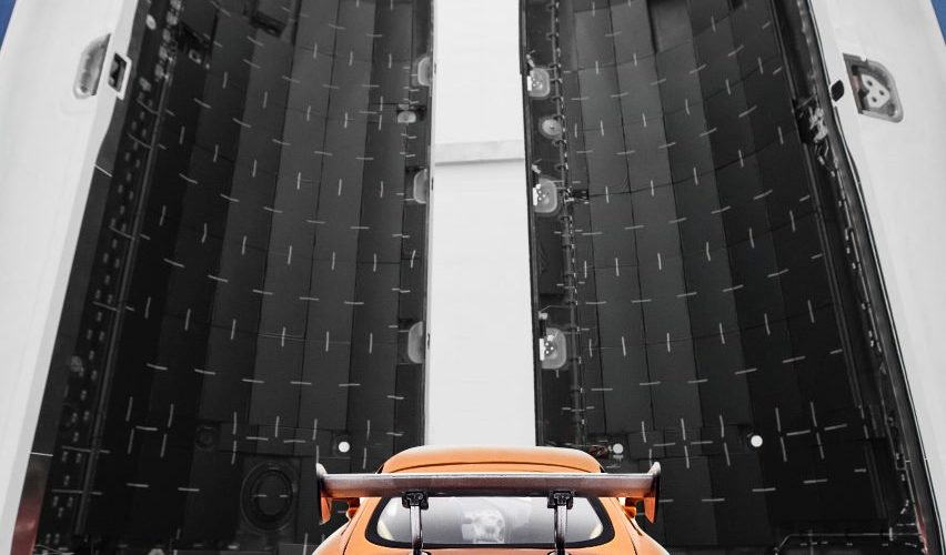 Elon launches Tesla into space