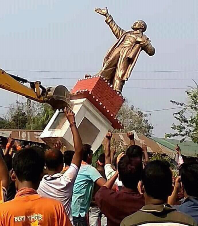 BJP supporters bulldoze Lenin's statue in Tripura