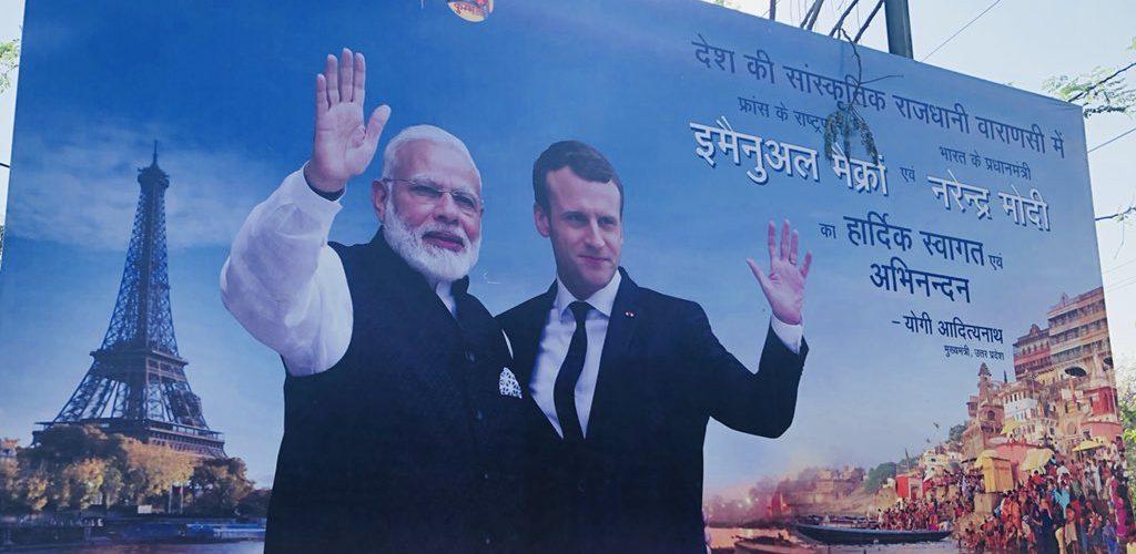 Emmanuel Macron in Varanasi, inaugurates power plant with Modi