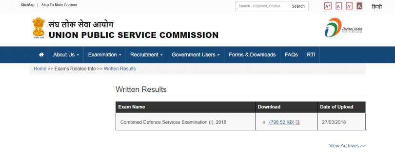 UPSC Combined Defence Services CDS Examination (I) results released on upsc.gov.in