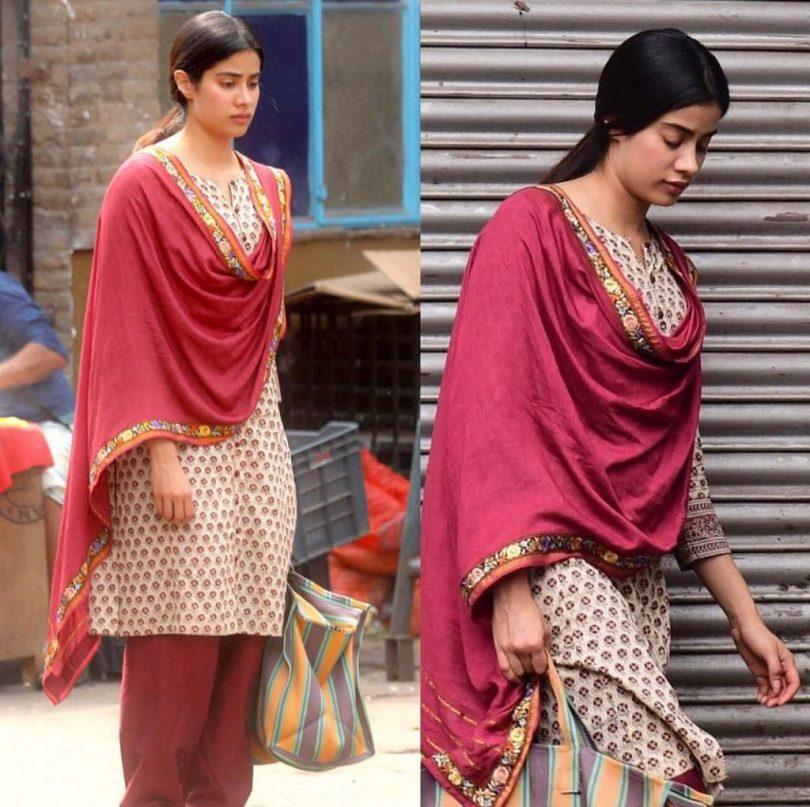 Jahnvi Kapoor character look from 'Dhadak' sets