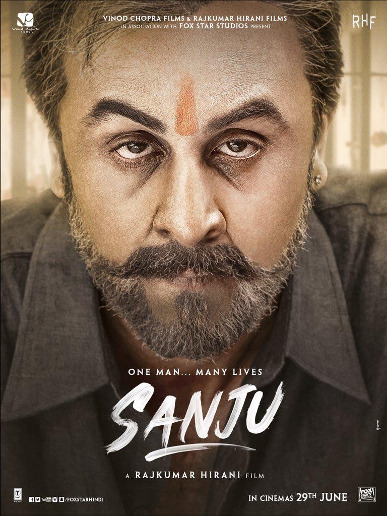 Sanju movie poster, Ranbir Kapoor looks fiercely like Sanjay Dutt in new look from the biopic