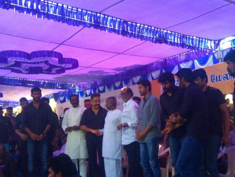 Rajinikanth, Kamal Haasan and Vijay stand to protest together about film industry