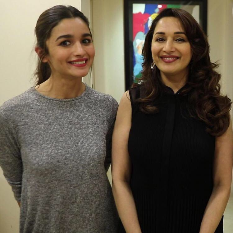 Alia Bhatt and Madhuri Dixit are all smiles on the sets of 'Kalank'