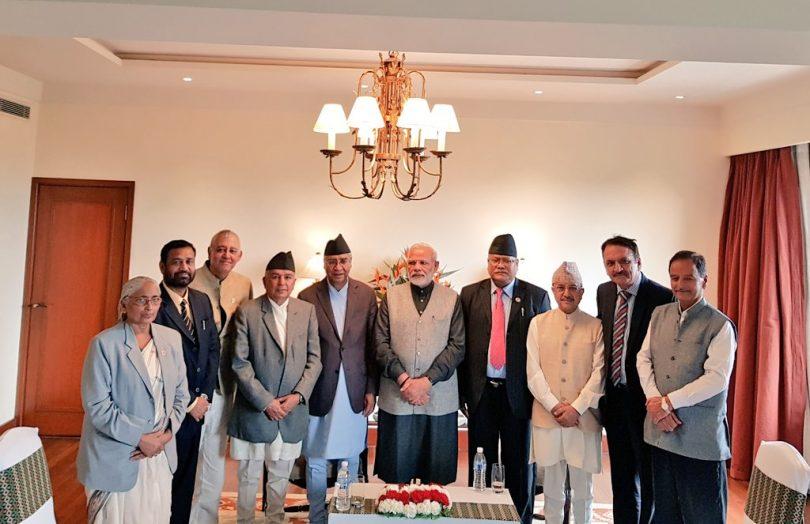 Narendra Modi in Nepal, meets members of Nepali congress, visits, Muktikanth temple
