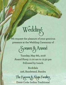 Sonam Kapoor and Anand Ahuja wedding card