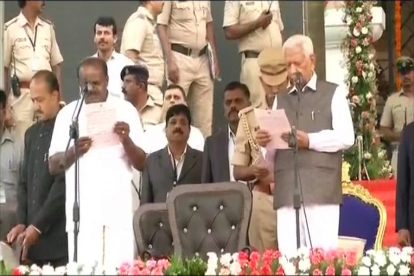 Kumaraswamy takes oath as Karnataka 23rd Chief Minister, Opposition Shows Strength