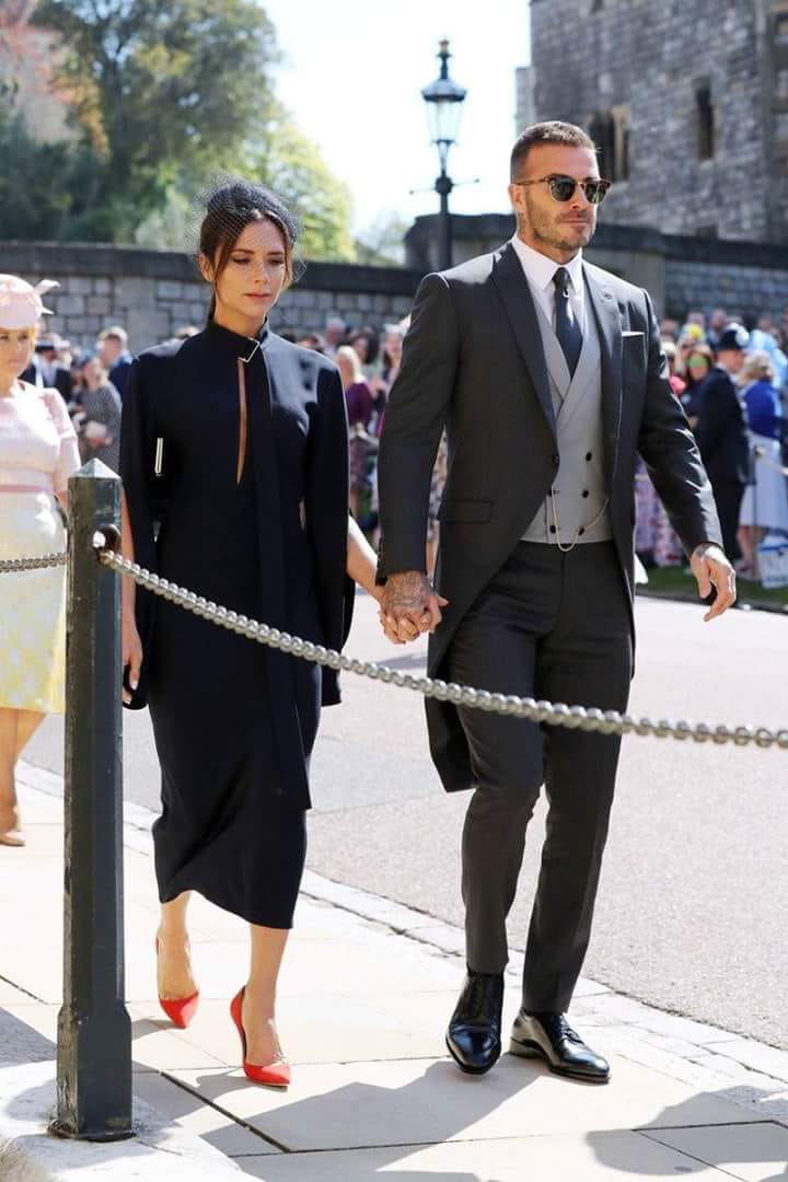 Royal wedding: David Beckham with wife Victoria arrives in a penguin suit