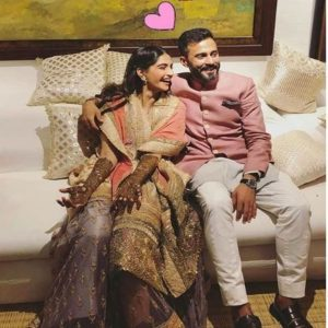 Sonam Kapoor and Anand Ahuja during the Mehendi Ceremony
