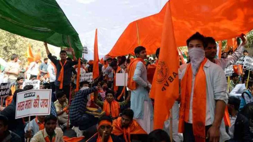 Kutch University ABVP activists make professor parade after blacken his face