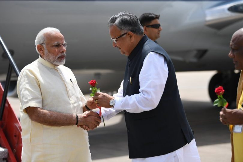 PM Modi arrives at Raipur, Chattisgarh to inagurate a modern Steel Plant and several other development projects
