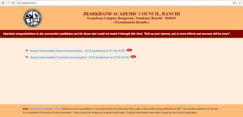 JAC 10th Board Results 2018 to be declared today at 04:00PM