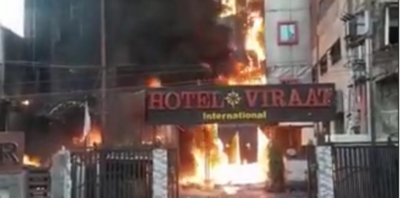 Massive fire burns down a Hotel in Lucknow