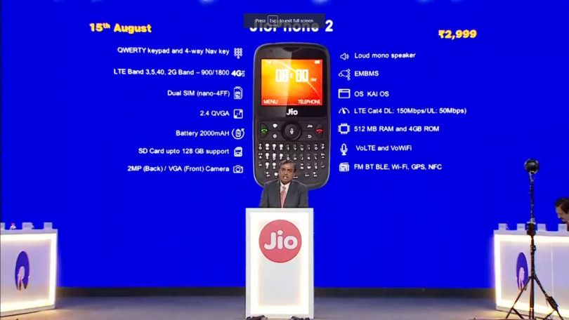 JioPhone 2 launched, priced at Rs 2,999, supports YouTube and Whatsapp