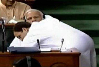 Rahul Gandhi hugs Prime Minister Narendra Modi in Lok Sabha