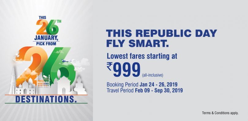 GoAir Republic Day Offer: Pick from 26 dream destinations at lowest fares starting at 999