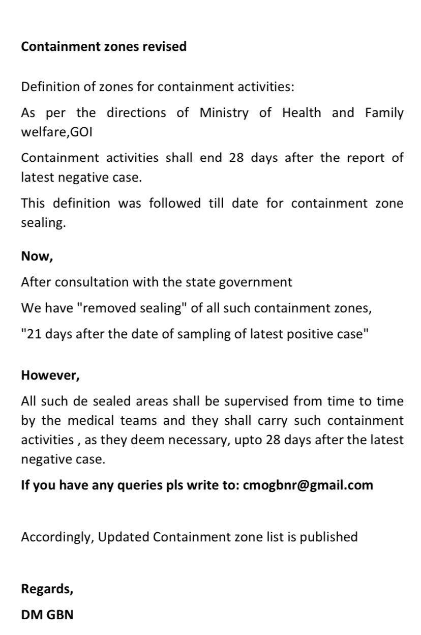 Containment Zone Definition Noida